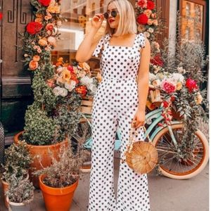 white polka dot jumpsuit